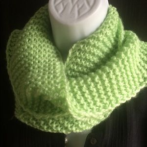 Knitted Winter Scarf Bright Apple Green color